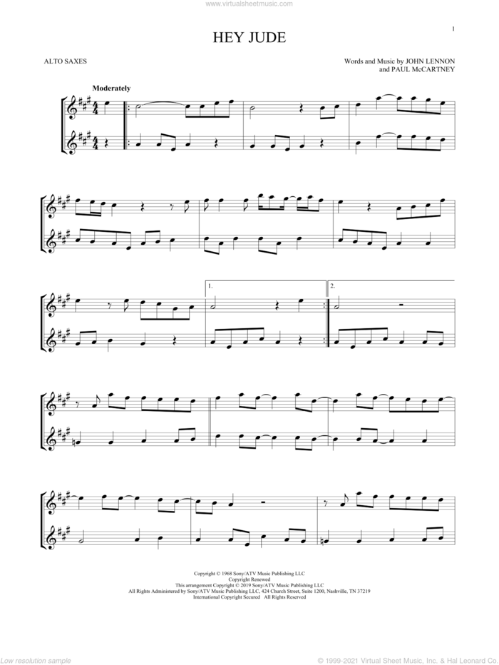 Hey Jude sheet music for two alto saxophones (duets) by Paul McCartney, The Beatles and John Lennon, intermediate skill level