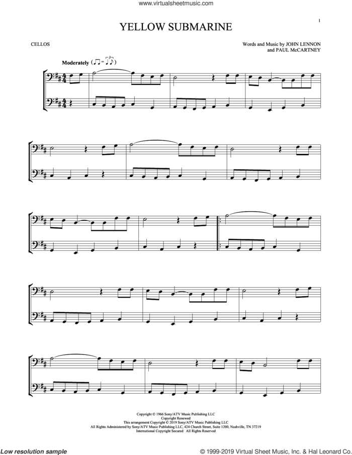 Yellow Submarine sheet music for two cellos (duet, duets) by The Beatles, John Lennon and Paul McCartney, intermediate skill level