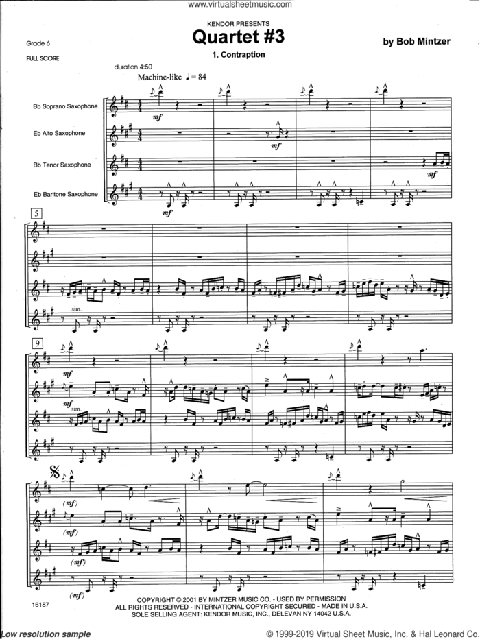 Quartet #3 (COMPLETE) sheet music for saxophone quartet by Bob Mintzer, intermediate skill level