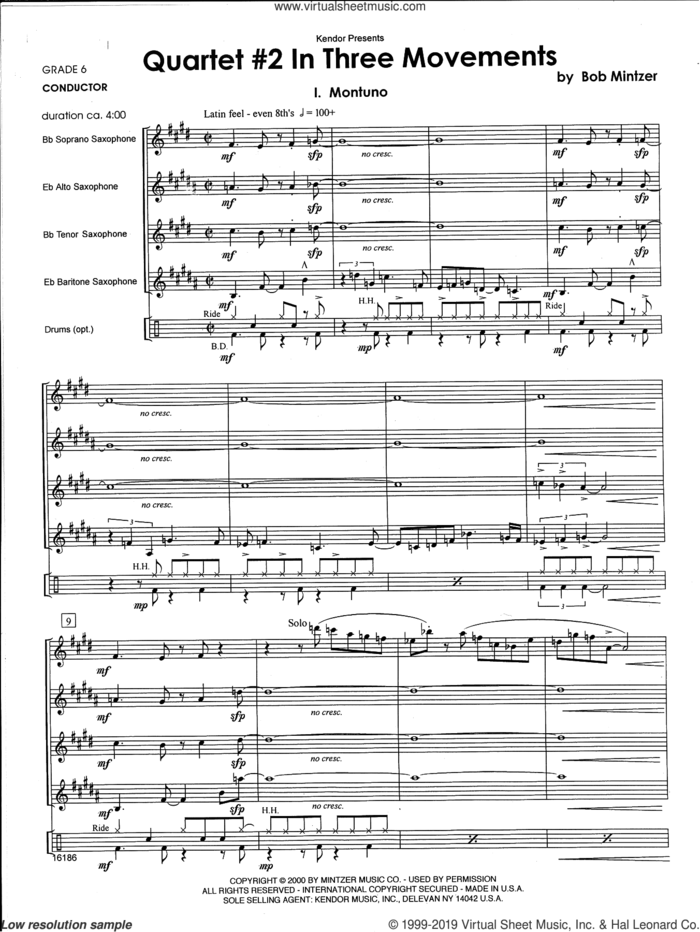 Quartet #2 In Three Movements (COMPLETE) sheet music for saxophone quartet and drums by Bob Mintzer, intermediate skill level