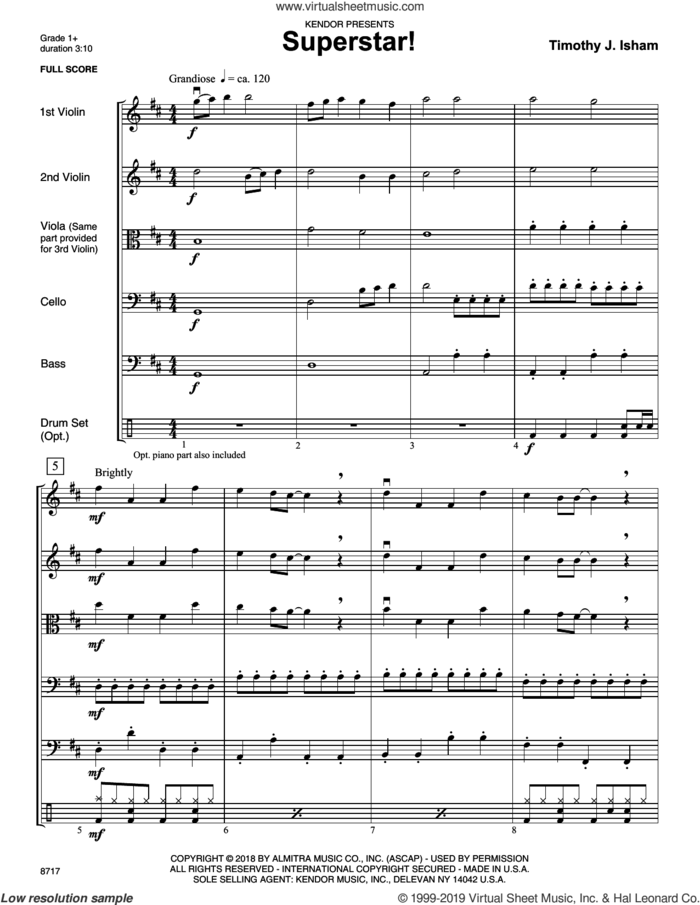 Superstar! (COMPLETE) sheet music for orchestra by Timothy J. Isham, intermediate skill level