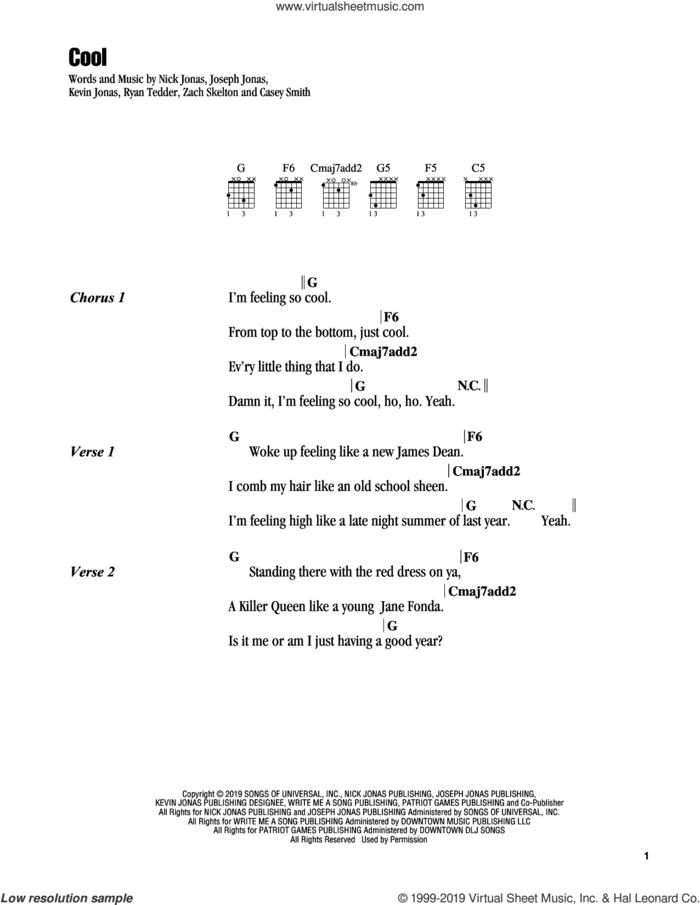 Cool sheet music for guitar (chords) by Jonas Brothers, Casey Smith, Joseph Jonas, Kevin Jonas, Nick Jonas, Ryan Tedder and Zach Skelton, intermediate skill level