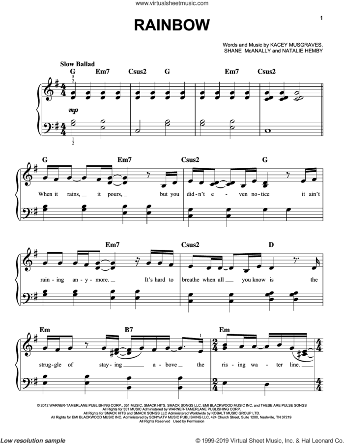 Rainbow, (easy) sheet music for piano solo by Kacey Musgraves, Natalie Hemby and Shane McAnally, easy skill level
