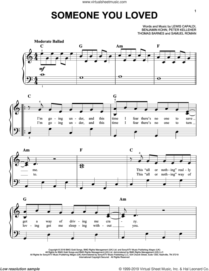 Someone You Loved, (easy) sheet music for piano solo by Lewis Capaldi, Benjamin Kohn, Peter Kelleher, Samuel Roman and Thomas Barnes, easy skill level