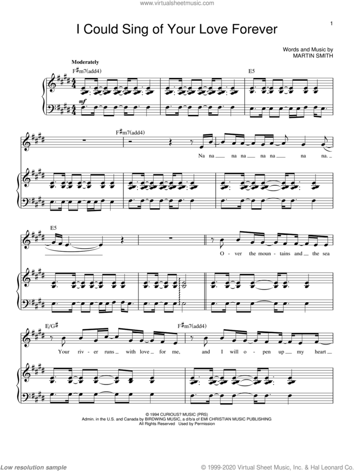 I Could Sing Of Your Love Forever sheet music for voice and piano by Delirious?, Passion Band and Martin Smith, wedding score, intermediate skill level