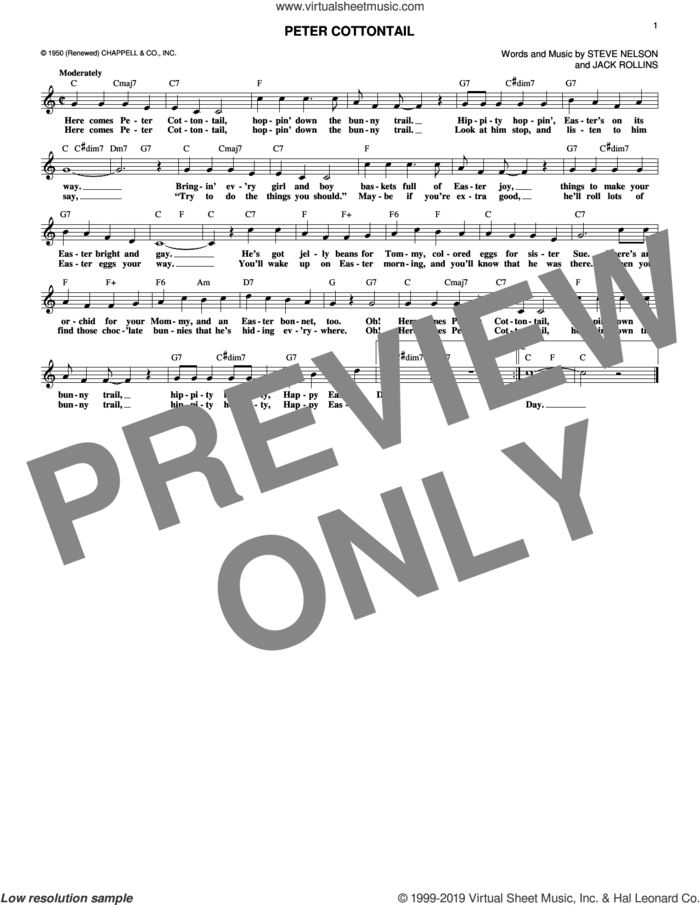 Peter Cottontail sheet music for voice and other instruments (fake book) by Steve Nelson and Jack Rollins, intermediate skill level