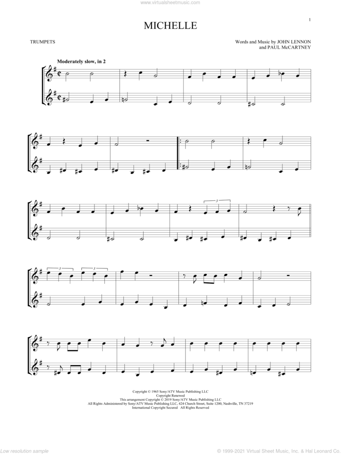 Michelle sheet music for two trumpets (duet, duets) by The Beatles, John Lennon and Paul McCartney, intermediate skill level