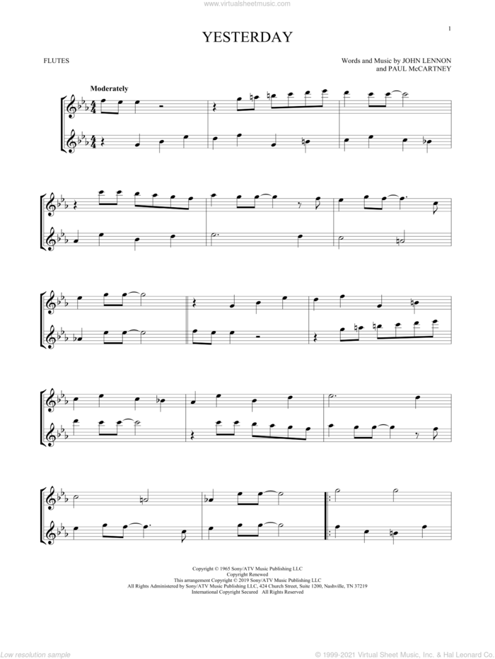 Yesterday sheet music for two flutes (duets) by The Beatles, John Lennon and Paul McCartney, intermediate skill level