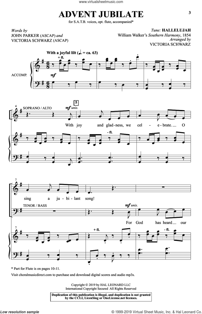 Advent Jubilate sheet music for choir by John Parker and Victoria Schwarz, intermediate skill level