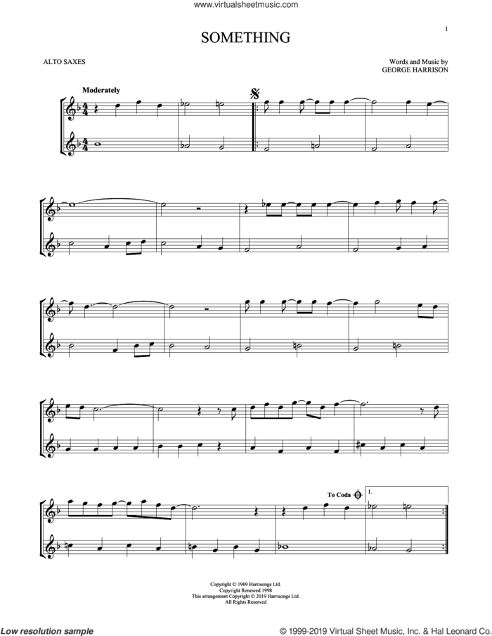 Something sheet music for two alto saxophones (duets) by The Beatles and George Harrison, intermediate skill level