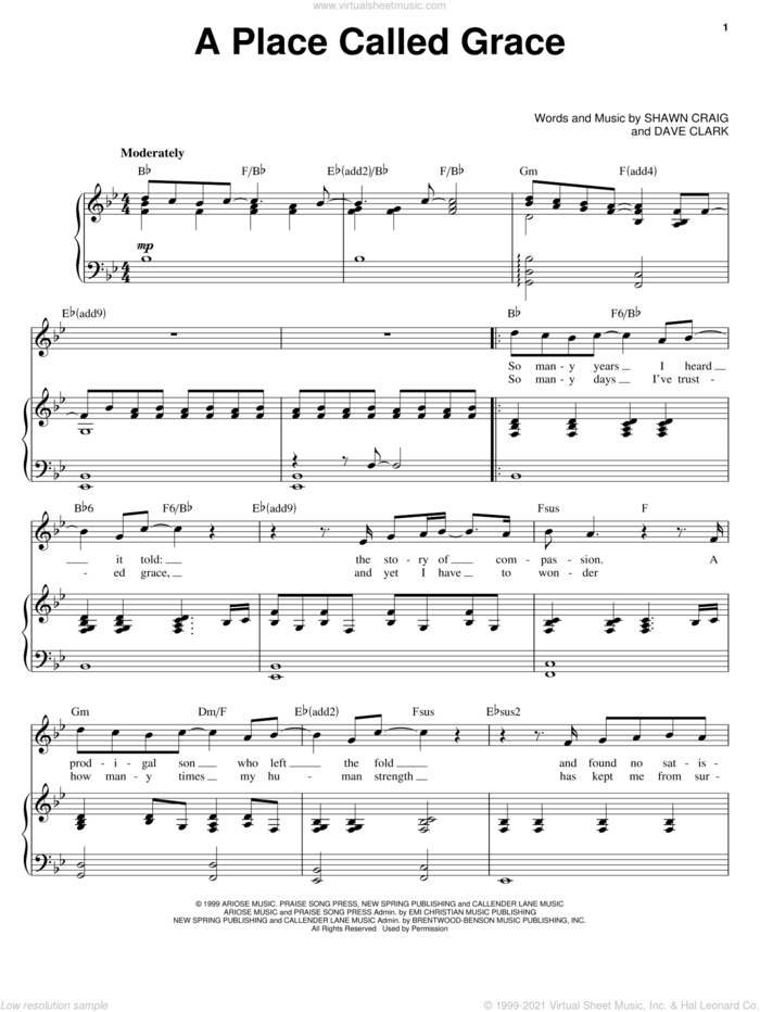 A Place Called Grace sheet music for voice and piano by Phillips, Craig & Dean, Dave Clark and Shawn Craig, intermediate skill level