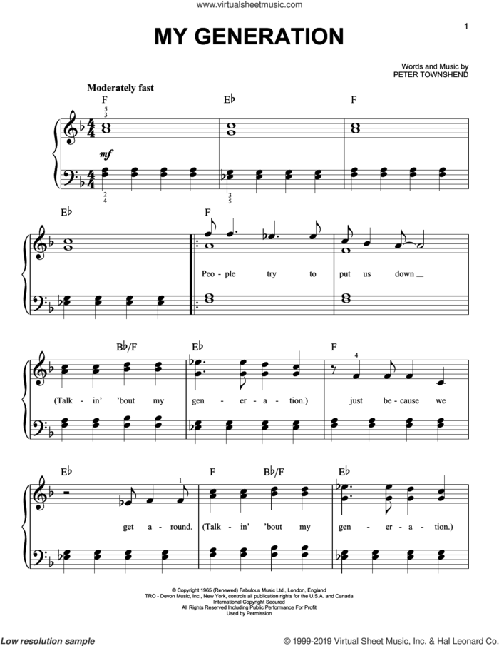 My Generation sheet music for piano solo by The Who and Pete Townshend, easy skill level