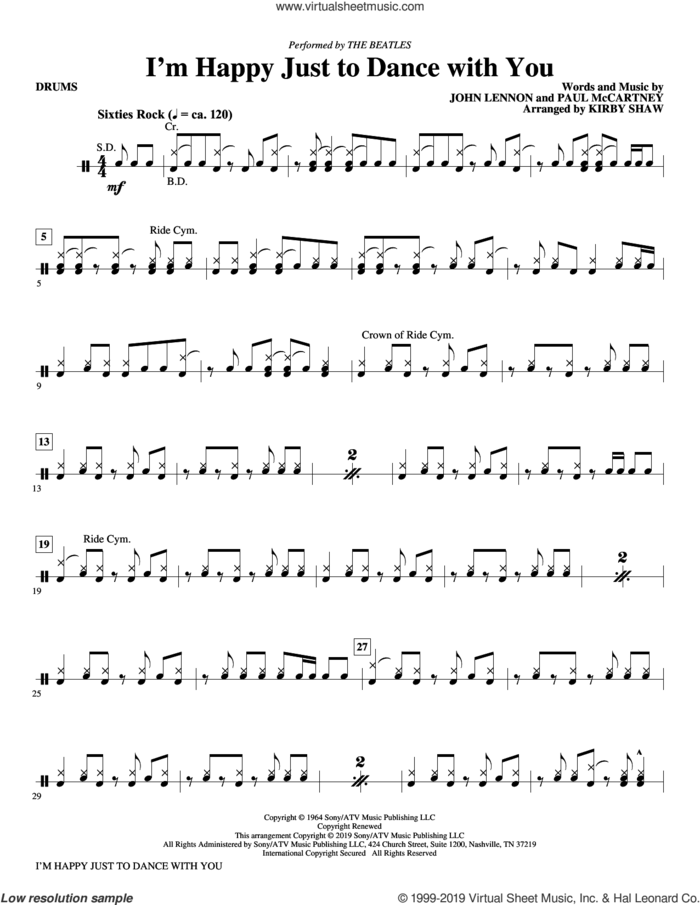 I'm Happy Just to Dance with You (arr. Kirby Shaw) sheet music for orchestra/band (drums) by The Beatles, Kirby Shaw, John Lennon and Paul McCartney, intermediate skill level