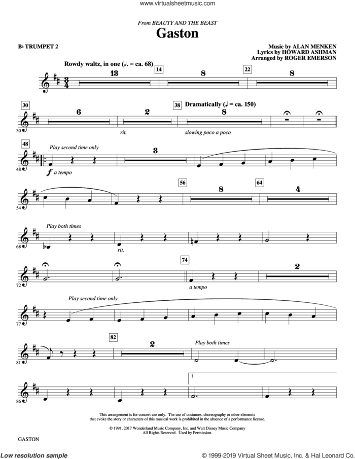 Gaston (from Beauty and The Beast) (arr. Roger Emerson) sheet music for orchestra/band (Bb trumpet 2) by Alan Menken, Roger Emerson and Howard Ashman, intermediate skill level