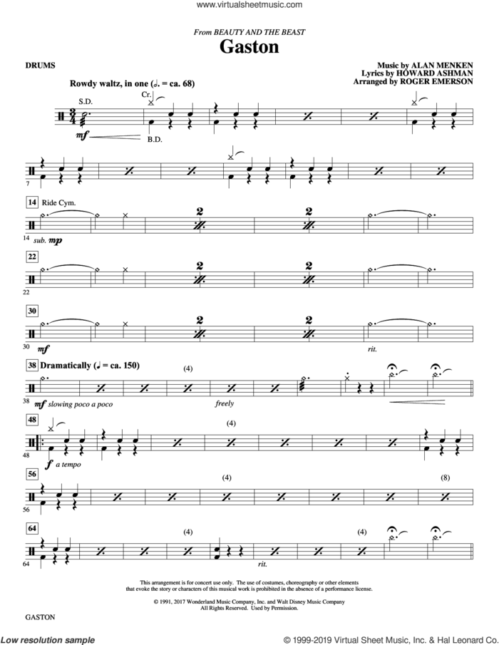 Gaston (from Beauty and The Beast) (arr. Roger Emerson) sheet music for orchestra/band (drums) by Alan Menken, Roger Emerson and Howard Ashman, intermediate skill level
