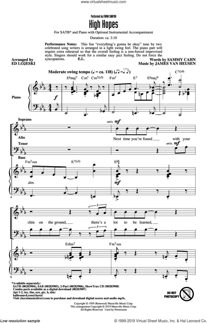 High Hopes (arr. Ed Lojeski) sheet music for choir (SATB: soprano, alto, tenor, bass) by Frank Sinatra, Ed Lojeski, Jimmy van Heusen and Sammy Cahn, intermediate skill level