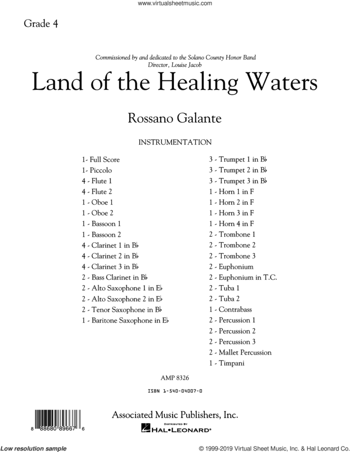 Land of the Healing Waters (COMPLETE) sheet music for concert band by Rossano Galante, intermediate skill level