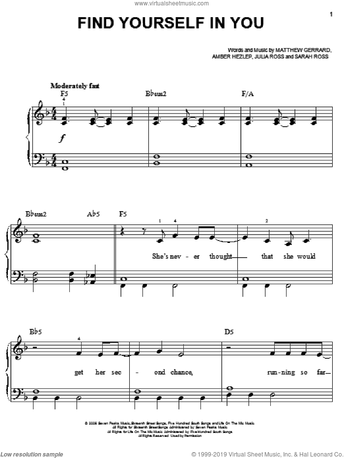 Find Yourself In You sheet music for piano solo by Everlife, Hannah Montana, Amber Hezlep, Julia Ross, Matthew Gerrard and Sarah Ross, easy skill level