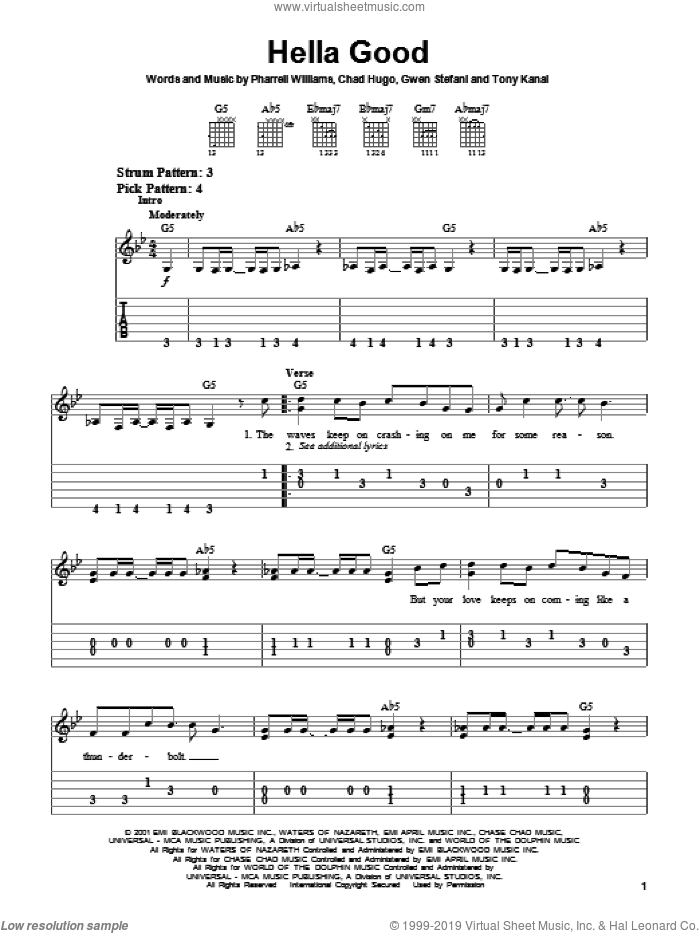 Hella Good sheet music for guitar solo (chords) by No Doubt, Chad Hugo, Gwen Stefani and Pharrell Williams, easy guitar (chords)