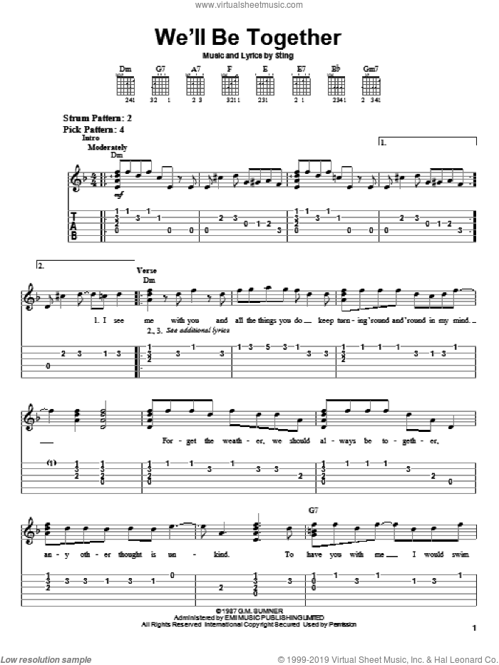We'll Be Together sheet music for guitar solo (easy tablature) by Sting, easy guitar (easy tablature)