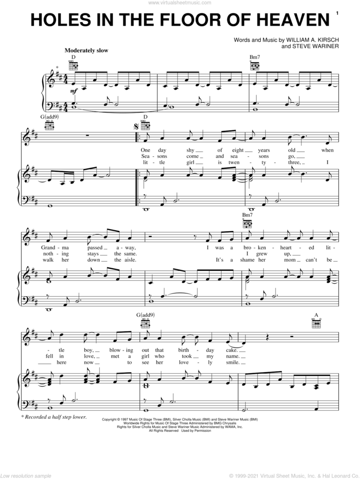 Holes In The Floor Of Heaven sheet music for voice, piano or guitar by Steve Wariner and Billy Kirsch, intermediate skill level