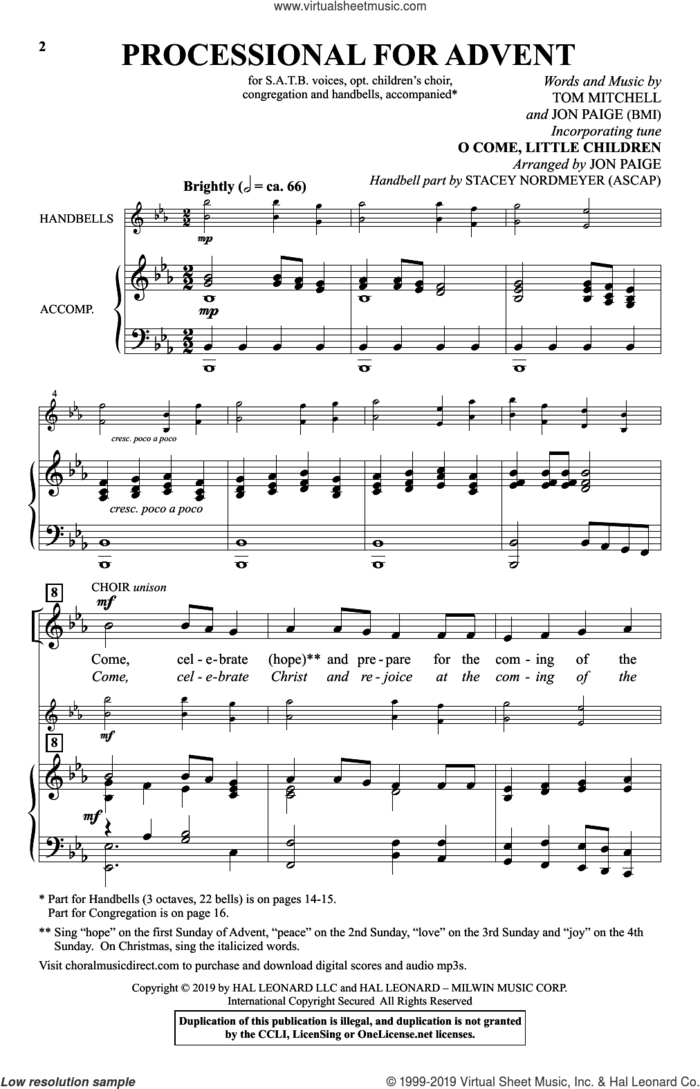 Processional For Advent sheet music for choir by Jon Paige, Tom Mitchell and Tom Mitchell & Jon Paige, intermediate skill level