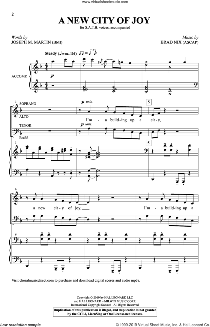 A New City Of Joy sheet music for choir (SATB: soprano, alto, tenor, bass) by Brad Nix, Joseph M. Martin and Joseph Martin & Brad Nix, intermediate skill level