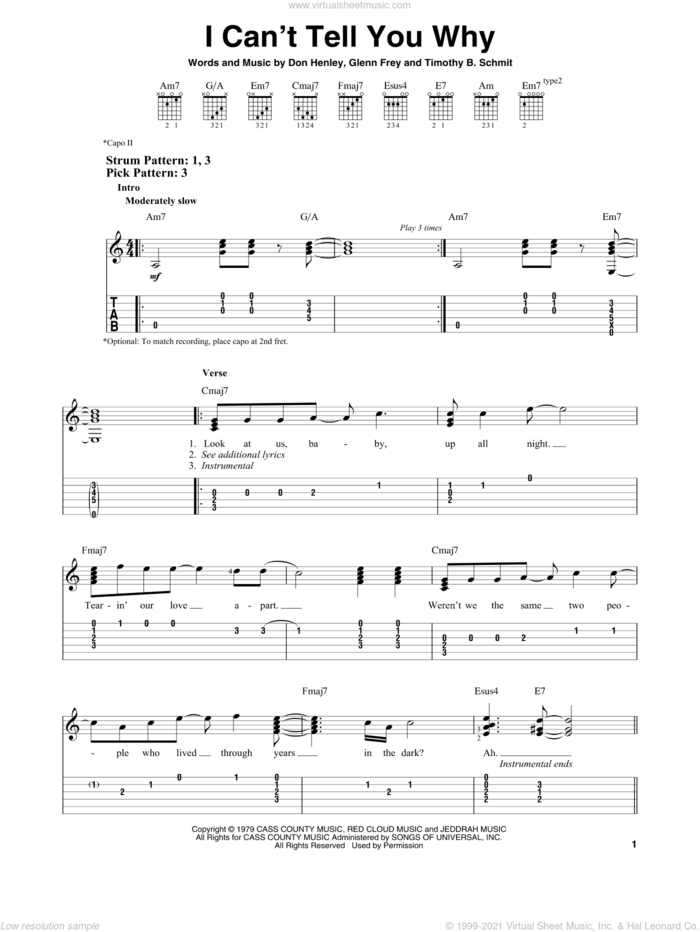 I Can't Tell You Why sheet music for guitar solo (easy tablature) by The Eagles, Don Henley, Glenn Frey and Timothy B. Schmit, easy guitar (easy tablature)
