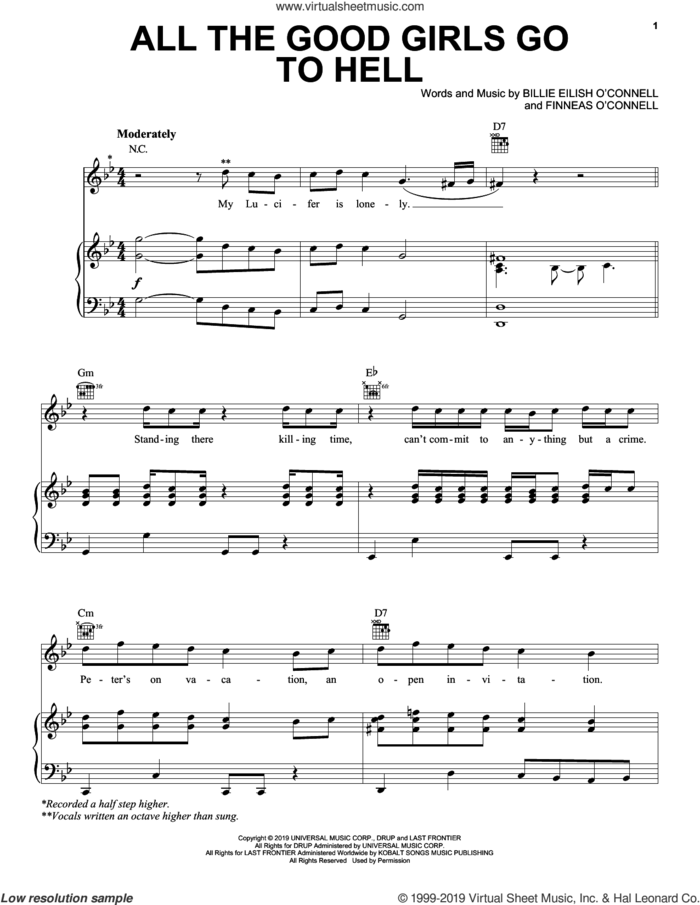all the good girls go to hell sheet music for voice, piano or guitar by Billie Eilish, intermediate skill level