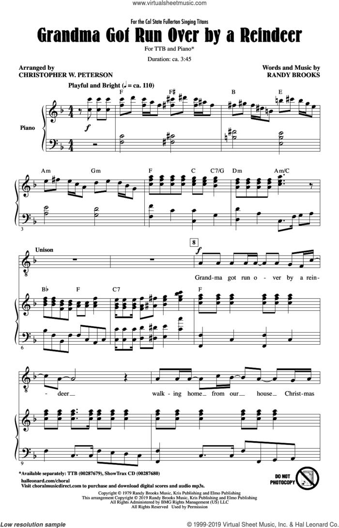 Grandma Got Run Over By A Reindeer (arr. Christopher Peterson) sheet music for choir (TTBB: tenor, bass) by Randy Brooks and Christopher Peterson, intermediate skill level