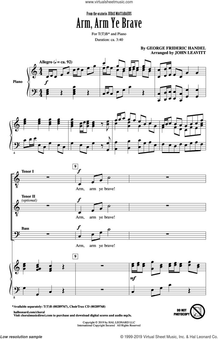 Arm, Arm Ye Brave (arr. John Leavitt) sheet music for choir (TTB: tenor, bass) by George Frideric Handel and John Leavitt, intermediate skill level