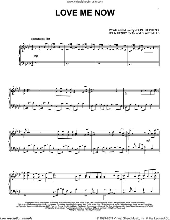 Love Me Now sheet music for piano solo by John Legend, Blake Mills, John Henry Ryan and John Stephens, intermediate skill level