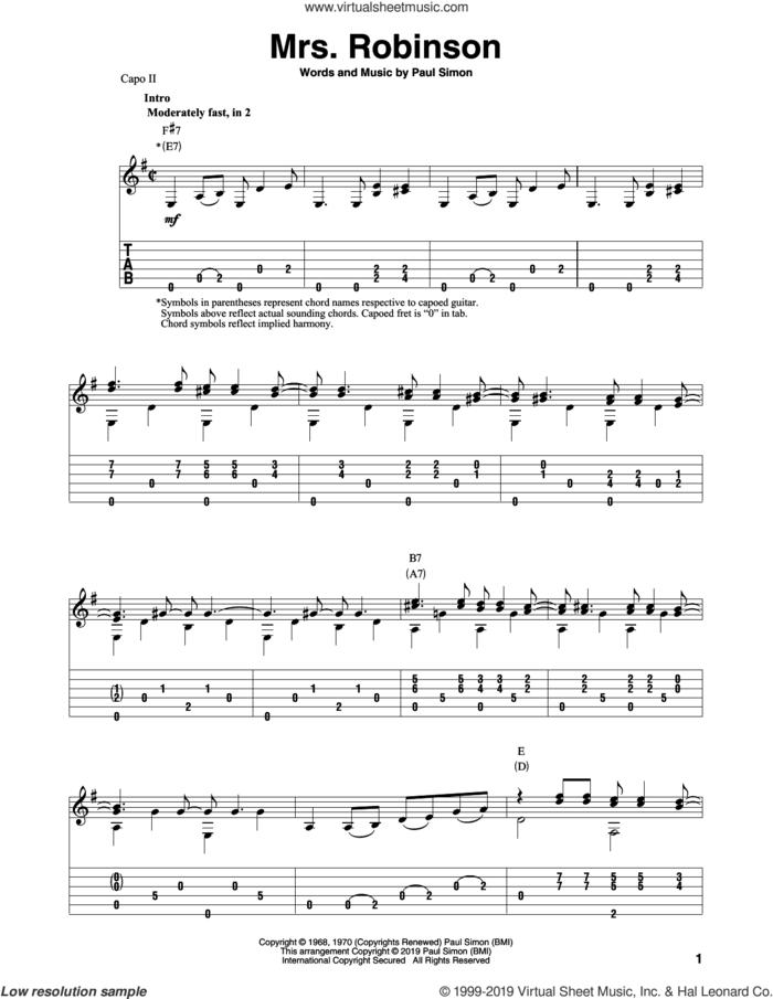 Mrs. Robinson (arr. Bill LaFleur) sheet music for guitar solo by Paul Simon, Simon & Garfunkel and Bill LaFleur, intermediate skill level
