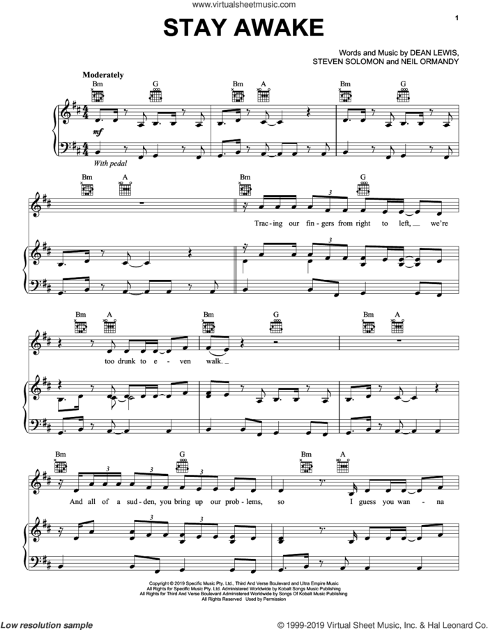 Stay Awake sheet music for voice, piano or guitar by Dean Lewis, Neil Ormandy and Steve Solomon, intermediate skill level