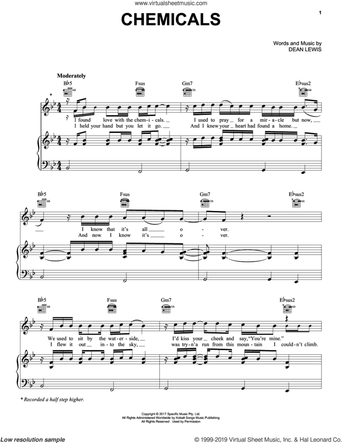 Chemicals sheet music for voice, piano or guitar by Dean Lewis, intermediate skill level