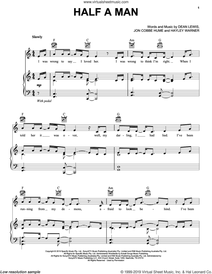 Half A Man sheet music for voice, piano or guitar by Dean Lewis, Hayley Warner and Jon Cobbe Hume, intermediate skill level