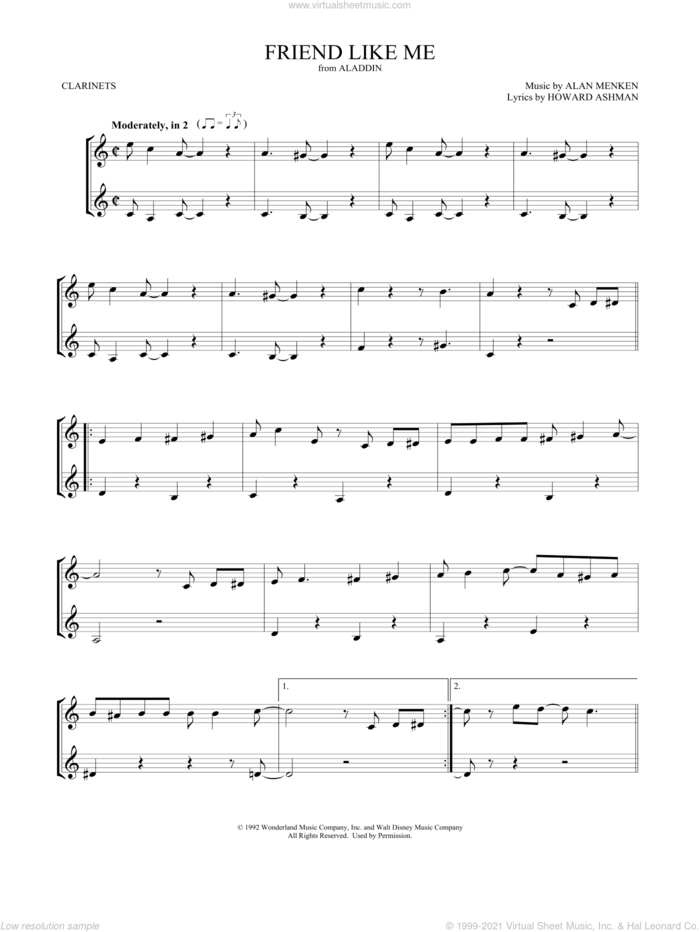 Friend Like Me (from Aladdin) sheet music for two clarinets (duets) by Alan Menken, Mark Phillips and Howard Ashman, intermediate skill level
