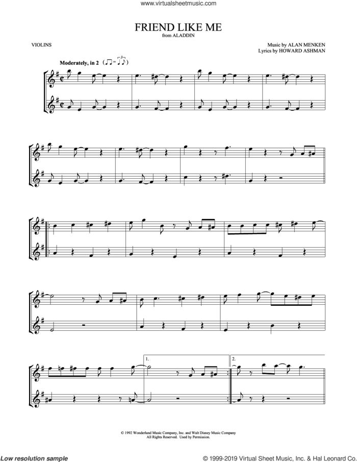 Friend Like Me (from Aladdin) sheet music for two violins (duets, violin duets) by Alan Menken, Mark Phillips and Howard Ashman, intermediate skill level