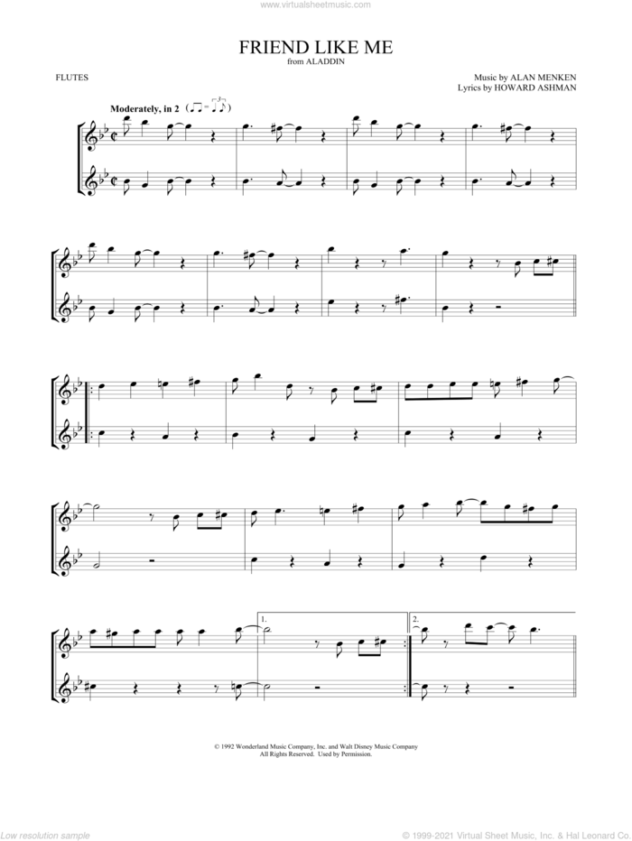 Friend Like Me (from Aladdin) sheet music for two flutes (duets) by Alan Menken, Mark Phillips and Howard Ashman, intermediate skill level