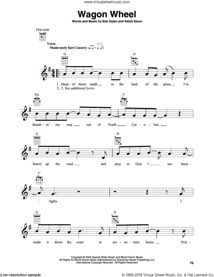 Wagon Wheel sheet music for banjo solo by Boby Dylan and Ketch Secor, intermediate skill level