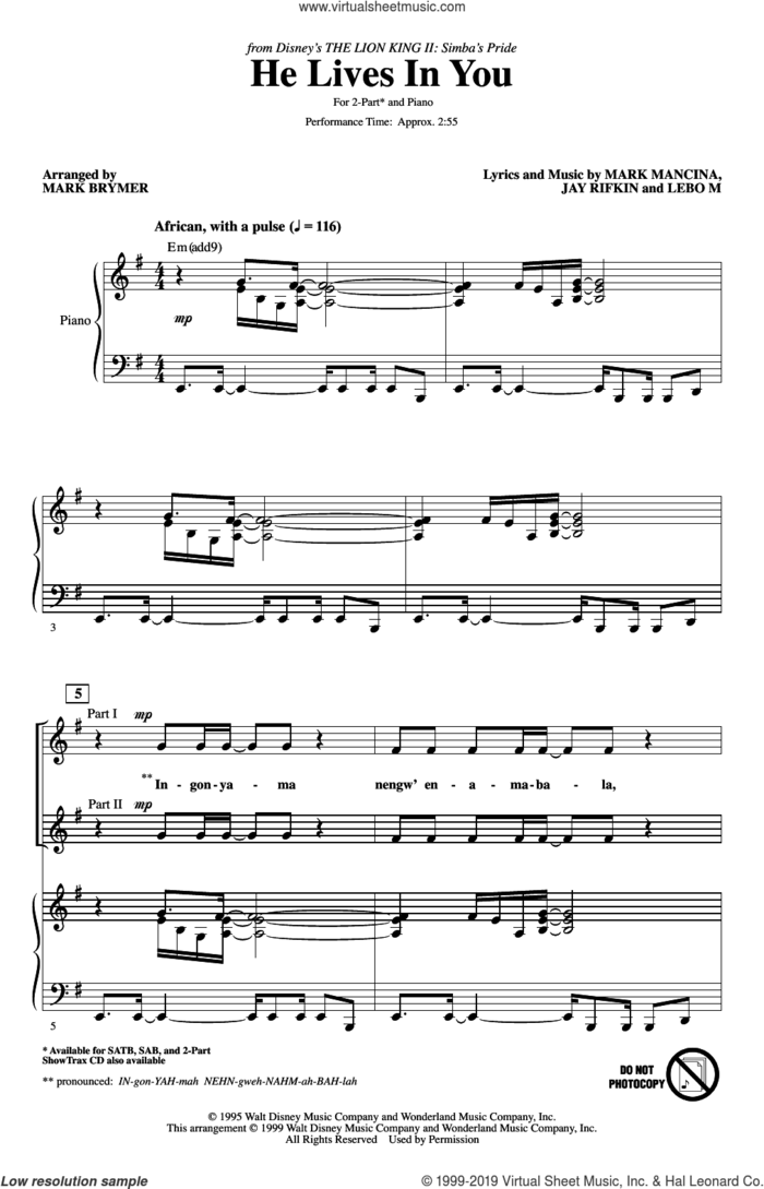 He Lives In You (from The Lion King II: Simba's Pride) (arr. Mark Brymer) sheet music for choir (2-Part) by Mark Mancina, Mark Brymer, Jay Rifkin and Lebo M., intermediate duet