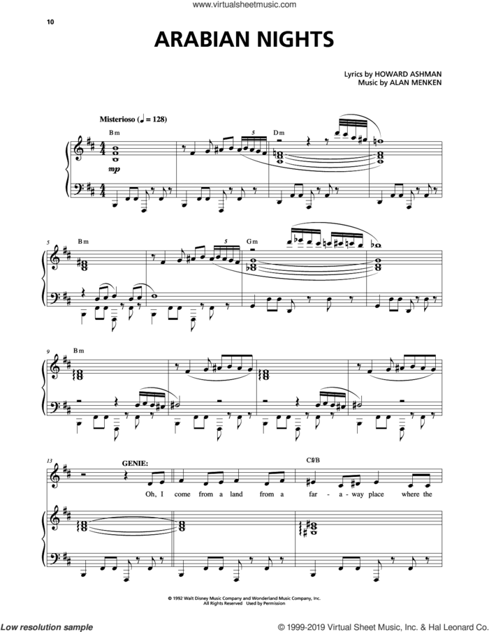 Arabian Nights (from Aladdin: The Broadway Musical) sheet music for voice and piano by Alan Menken and Howard Ashman, intermediate skill level
