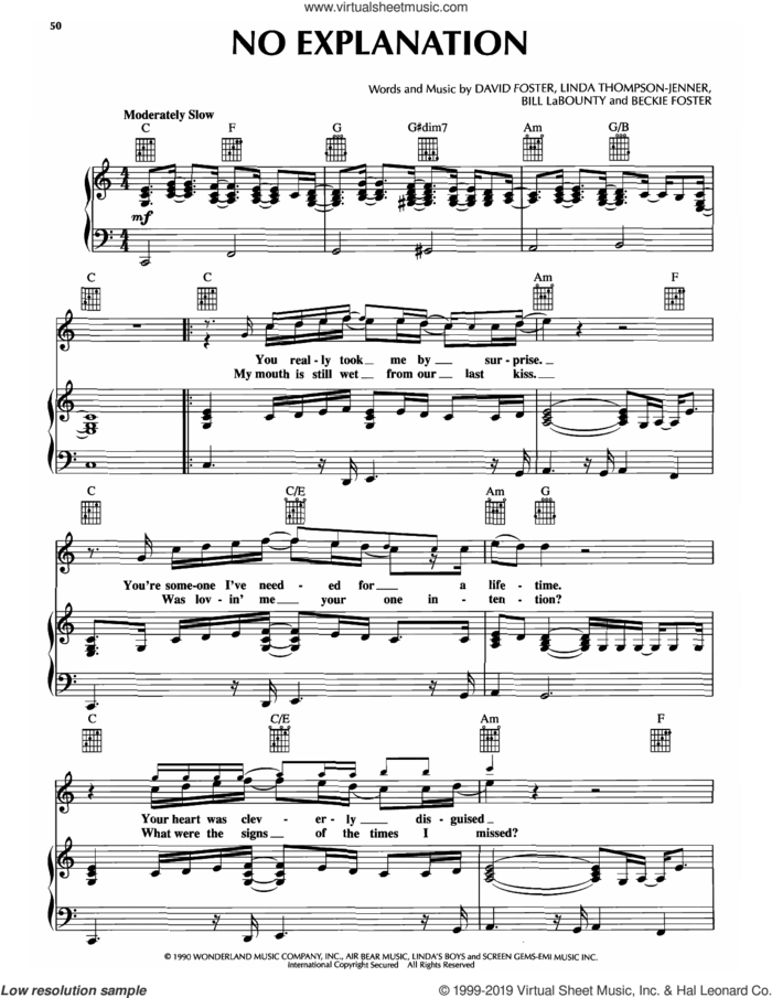 No Explanation (from Pretty Woman) sheet music for voice, piano or guitar by Peter Cetera, intermediate skill level