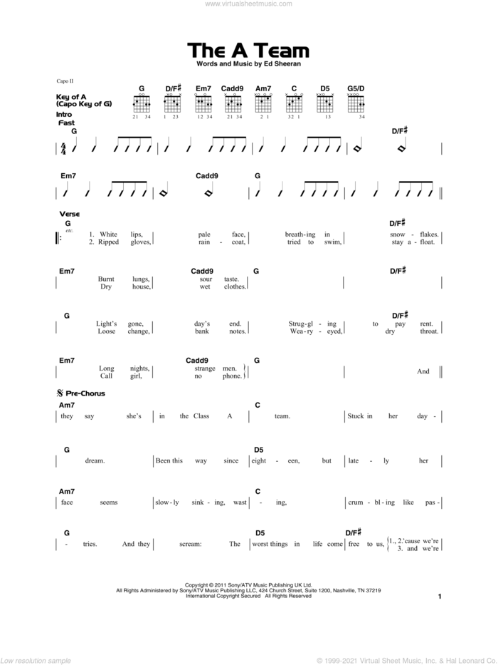 The A Team sheet music for guitar solo by Ed Sheeran, beginner skill level