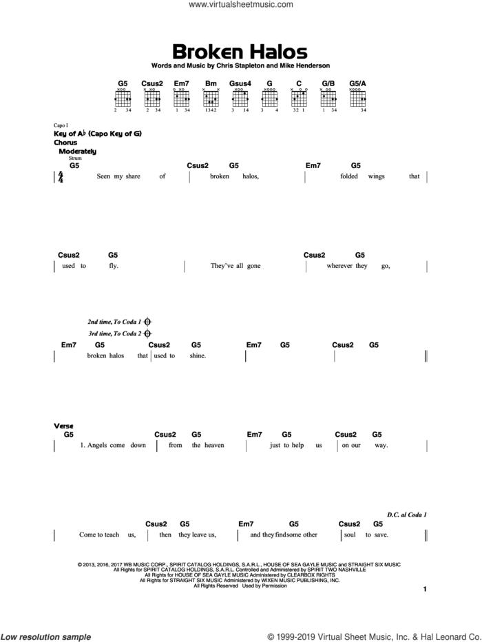 Broken Halos sheet music for guitar solo by Chris Stapleton and Mike Henderson, beginner skill level