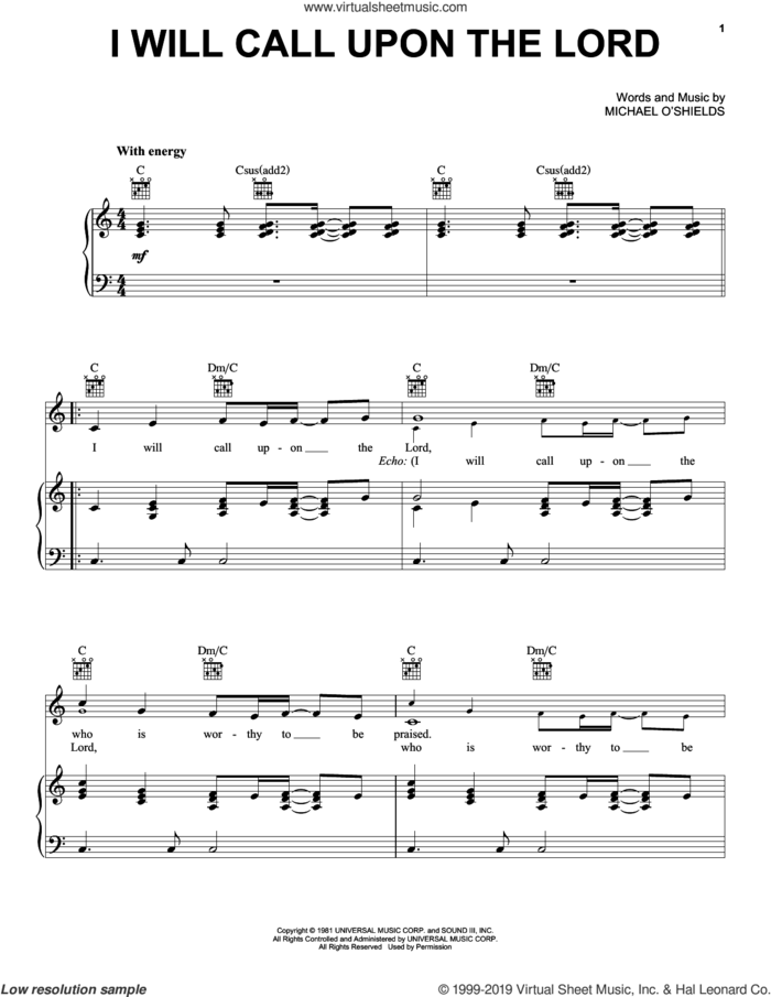 I Will Call Upon The Lord sheet music for voice, piano or guitar by Benita Jones, intermediate skill level