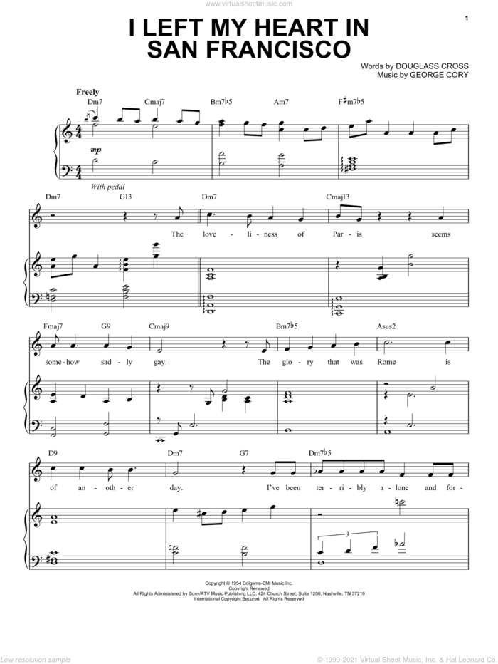 I Left My Heart In San Francisco sheet music for voice and piano by Tony Bennett, Douglass Cross and George Cory, intermediate skill level