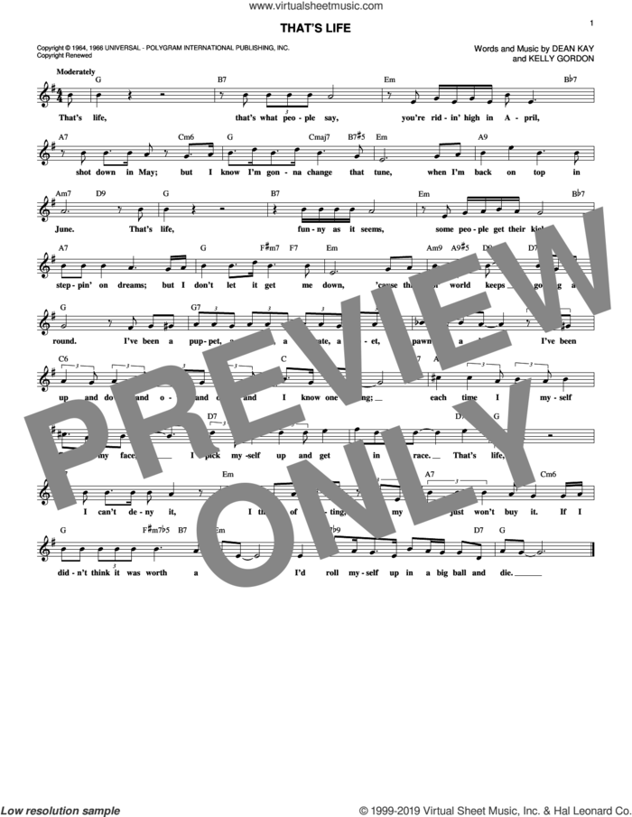 That's Life sheet music for voice and other instruments (fake book) by Frank Sinatra, Dean Kay and Kelly Gordon, intermediate skill level