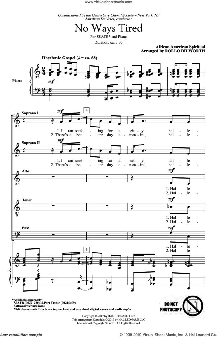 No Ways Tired (arr. Rollo Dilworth) sheet music for choir (SATB: soprano, alto, tenor, bass)  and Rollo Dilworth, intermediate skill level