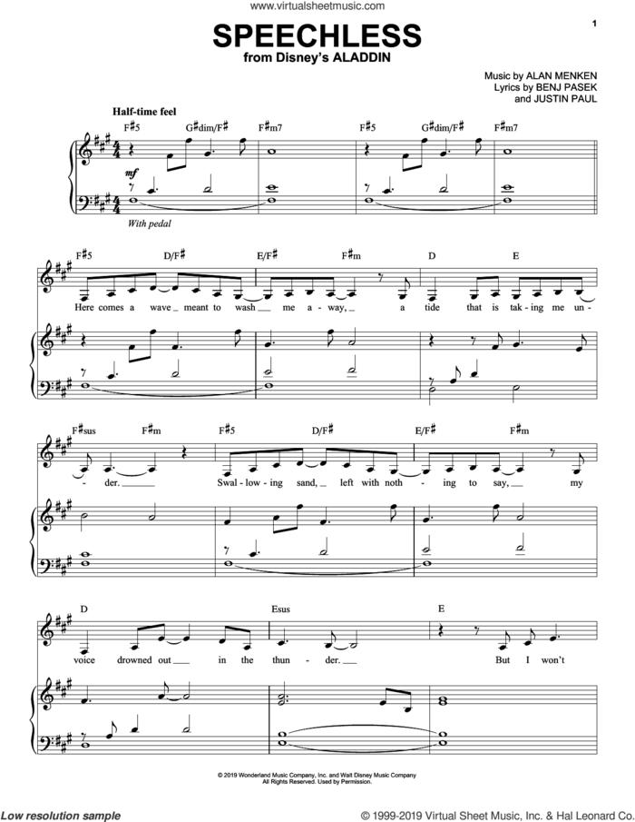 Speechless (from Disney's Aladdin) sheet music for voice and piano by Naomi Scott, Alan Menken, Benj Pasek and Justin Paul, intermediate skill level